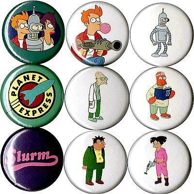 Futurama 9 pins buttons badges leela bender fry slurm amy hermes proffessor