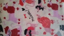 French Poodle Dog Multi Color Flannel Cotton Fabric One Yard