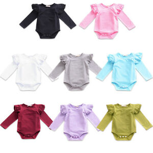 26e1c9277a80 Image is loading Baby-Girl-Ruffle-Flutter-Long-Sleeve-Romper-Bodysuit-