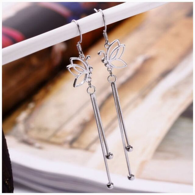 Fashion Jewelry Refinement Chic Earrings Silver Color Butterfly Ear Wire New