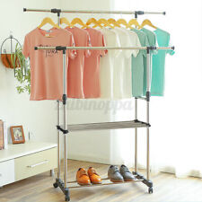 Heavy Duty Commercial Garment Rack Rolling Collapsible Clothing Shelf With W