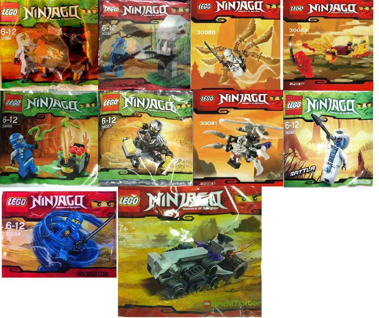 10x LEGO Ninjago 30080 30081 30082 30083 30084 30085 30086 30087 30088 20020