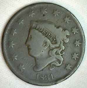 1831 Coronet Large Cent US Copper Type Coin Very Good Genuine Penny N2 1c VG