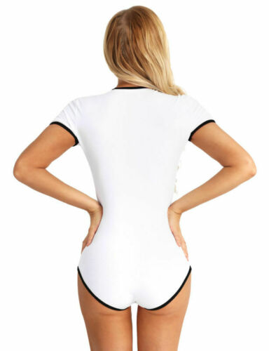 Women Short Sleeve Snap Crotch Romper Jumpsuit Bodysuit Cosplay Costume Leotard
