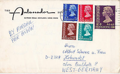Hongkong Queen Elizabeth Ii Hcv Mif 19.4.1975 Ungleiche Leistung Mixed Franked Airmail To Germany