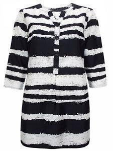 Ladies-Long-Silky-Shirt-Plus-Size-18-24-Zebra-Print-Blouse-striped-tunic-top-232