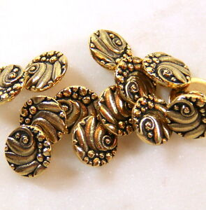 Czech Style Metal Shank Buttons, TierraCast, Antiq. Gold Plate, 4 or More, 0626