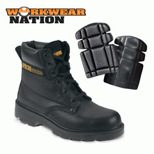 Apache Ap300 Leather Work Safety Shoe Boot Steel Toe Cap Black Free Kneepads