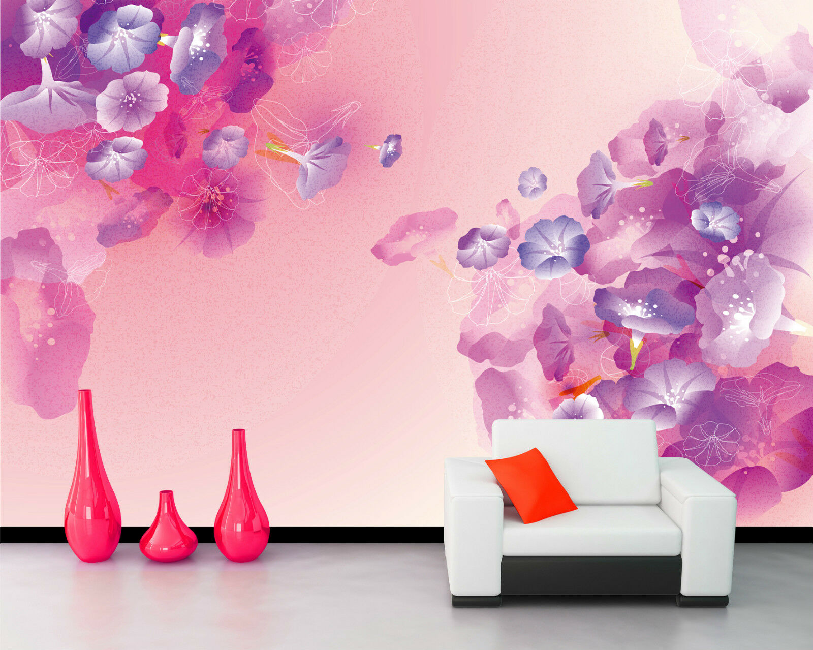 3D Purple Dream Flow1D Wall Paper Murals Wall Print Decal Wall Deco AJ WALLPAPER