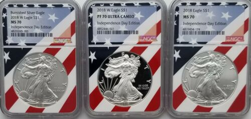 PF70 NGC MS70 MS70 Flag Core 2018 Silver Eagle Independence Day 3 Coin Set