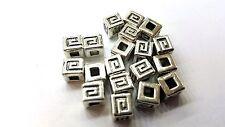 50 pcs 6mm Tibetan Silver Zinc Alloy Metal Square Beads - A0226
