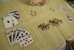 HUGE-36-034-Playing-Card-Table-Cover-Horse-Rider-Preworked-Needlepoint-Canvas
