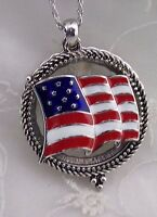 Long Silver Red White Blue Flag Magnifying Glass Necklace Fashion Jewelry