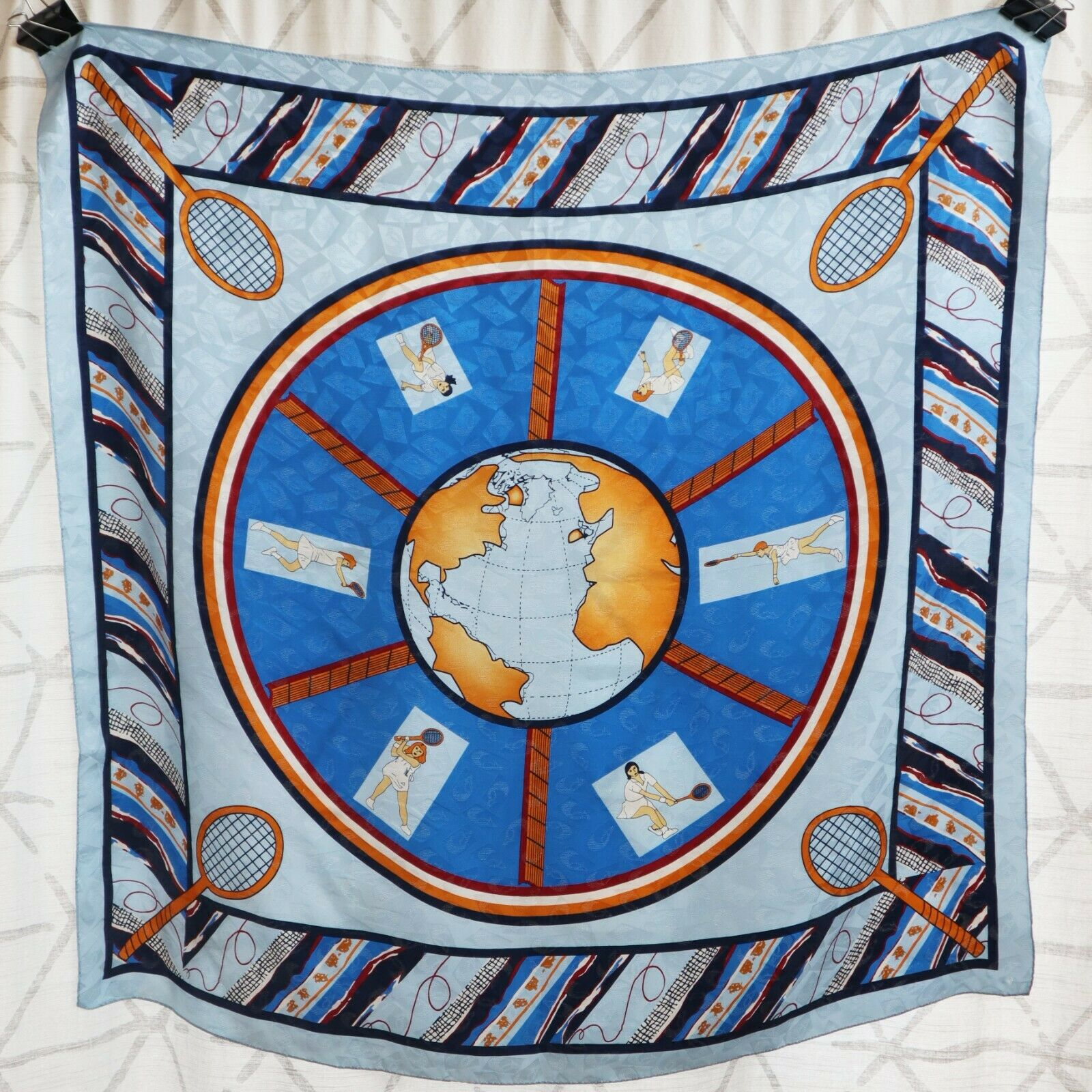 Mid Mod silk scarf tennis ladies sport Olympics 100% genuine silk Korean 1960s