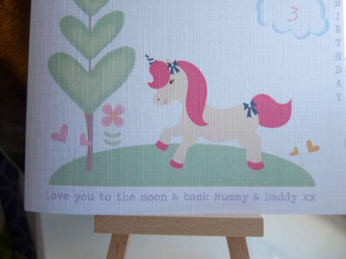 Handmade Personalised Unicorn Birthday Card Girls Daughter Granddaughter 1 2 3 4