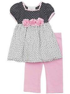 34f037f6c6bc Details about NEW Rare Editions Black Pink Stripe Dot Eyelash Legging Set  18 or 24 Months
