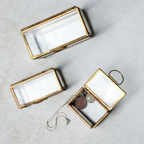 Rectangular Dacia Dassie Jewellery Box Large Clear Glass /& Gold Brass Trinket