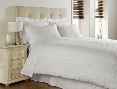 Coton Égyptien seersucker lit 300 fils de parure de lit blanc