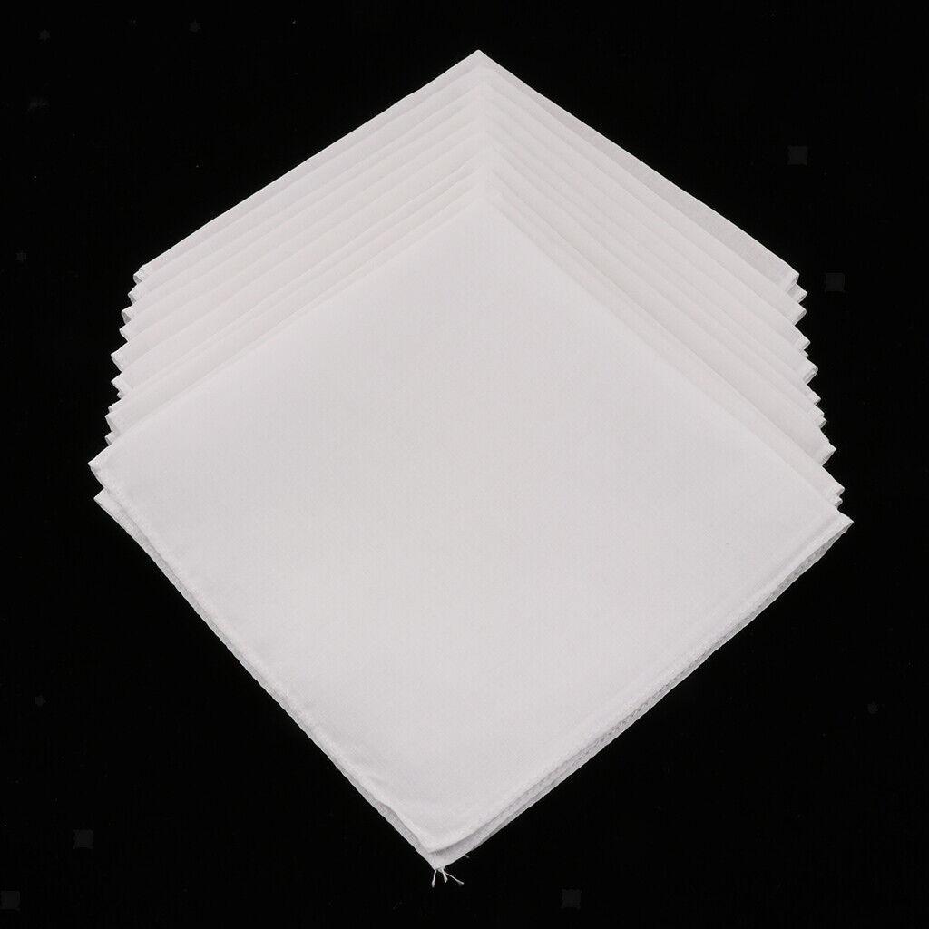 10pcs Unisex Taschentücher Stofftaschentücher 100% Baumwolle Handkerchiefs