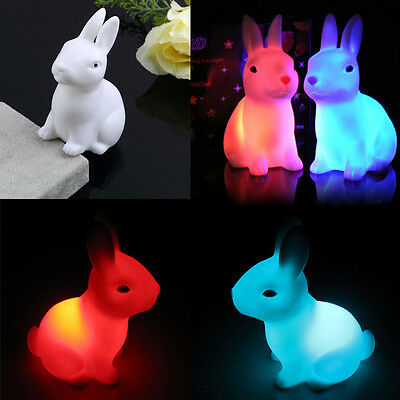 Funny Child Kid Toy LED Night Light Rabbit Lamp Color Changes Wedding Decor Gift