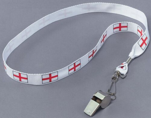 Angleterre supporters metal sifflet St George Cross Cordon d/'encolure