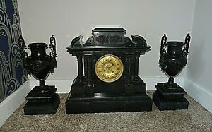 Antique-19th-Century-Victorian-Architectural-Slate-Mantel-Clock-with-Garniture