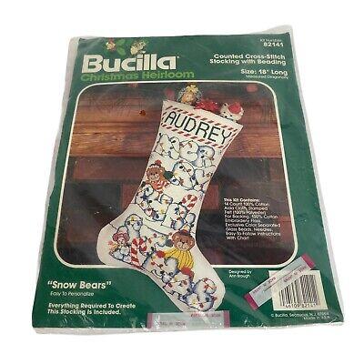 "BUCILLA  POINSETTIA  /&  B0W STAMPED CROSS-STITCH  CHRISTMAS STOCKING 18"""