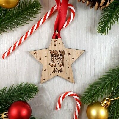Personalised Christmas Tree Decoration Wooden Baubles Xmas Shapes gift Tags