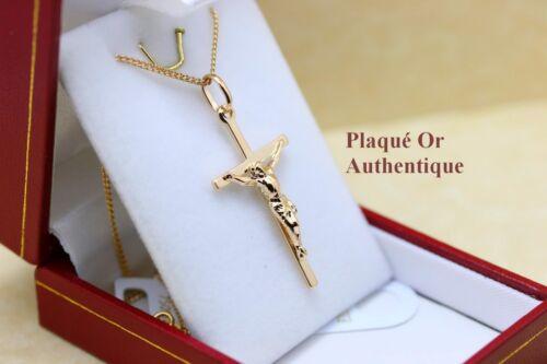Anhänger Kruzifix Jesus auf das Kreuz Vergoldet Echt mit Kette+Etui Neu
