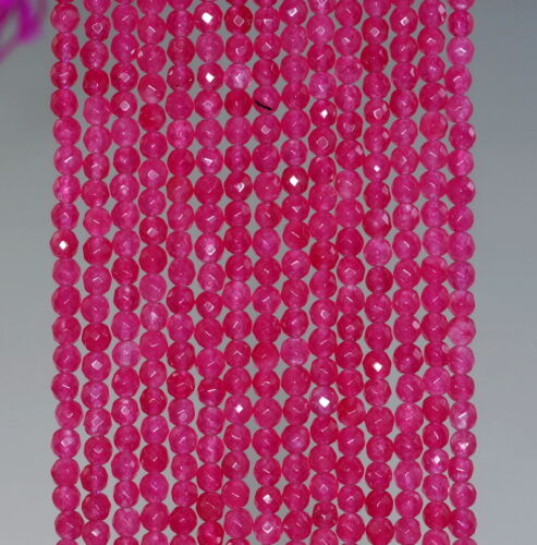 3MM LIP GLOSS JADE GEMSTONE RED FACETED ROUND LOOSE BEADS 15/""
