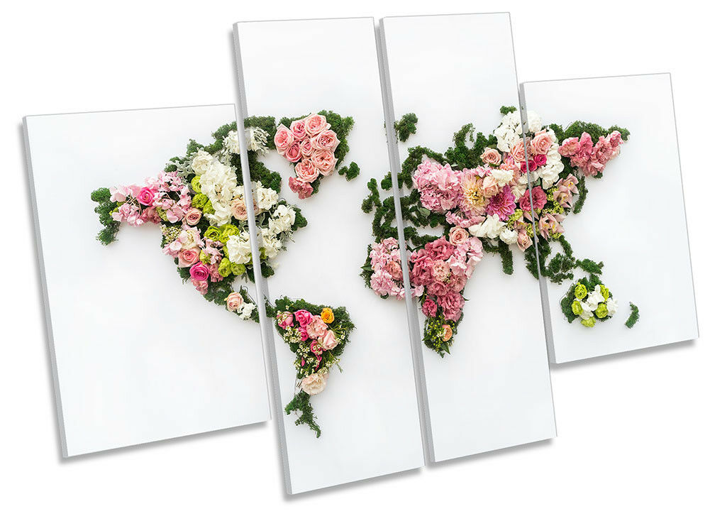 World Map Floral blumen Picture CANVAS wand kunst Four Panel