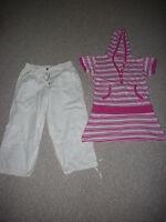 tolles Set: Shirt pink weiß 164 + Hose in weiß in Gr. 152 weit 952 - wunderschön
