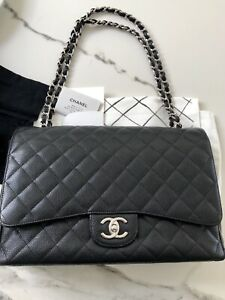 3f035ad79178 Image is loading CHANEL-MAXI-Timeless-Classic-Black-Double-Flap-Handbag-