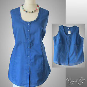 Sommer-Bluse-Tunika-Armellos-Hauchduenn-100-Baumwolle-blau-Gr-52-NEU-N10