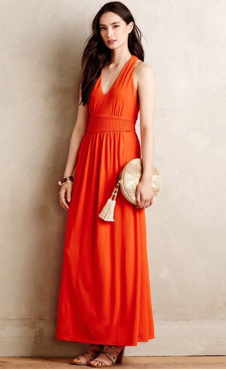 NEW Anthropologie Yuma Jersey Maxi Dress Größe 6 Orange