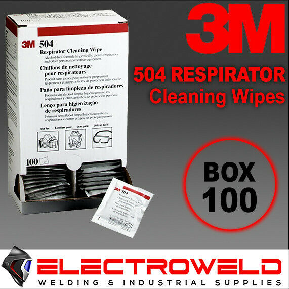 100 x 3M 504 Cleaning Wipes Respirator / Welding Helmet Alcohol Free - M504