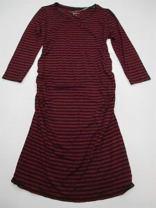 new-LIZ-LANGE-MATERNITY-DR027-Women-039-s-Size-S-Fitted-Striped-Red-Bodycon-Dress