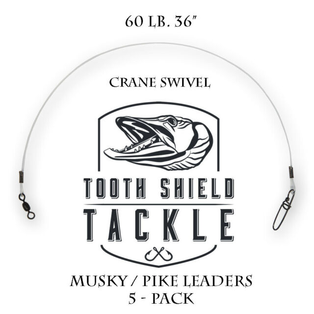 """5 Five pack 60# musky pike Fluorocarbon leaders 18/"""""""
