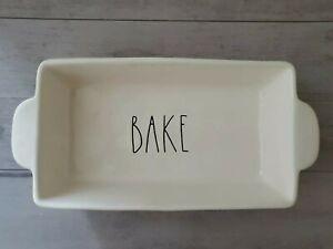 "NEW Rae Dunn by Magenta BAKE Loaf Bake 9"" X 5"" X 2.75"" Pan Dish Farmhouse Decor"