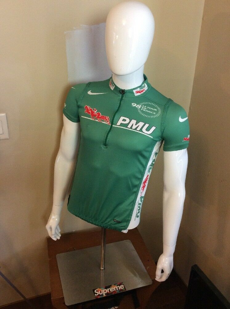 Nike Fit Mens 1998 Tour De France PMU  Cycling Jersey Green Made  Size M  quality first consumers first