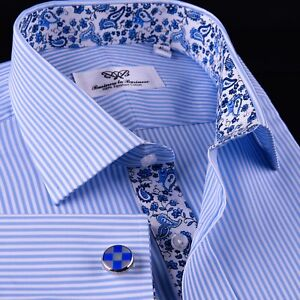 db03186155 Image is loading Light-Blue-Striped-Business-Dress-Shirt-Formal-Paisley-
