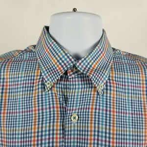 Peter-Millar-Mens-Blue-Orange-Check-Plaid-Dress-Button-Shirt-Sz-Medium-M
