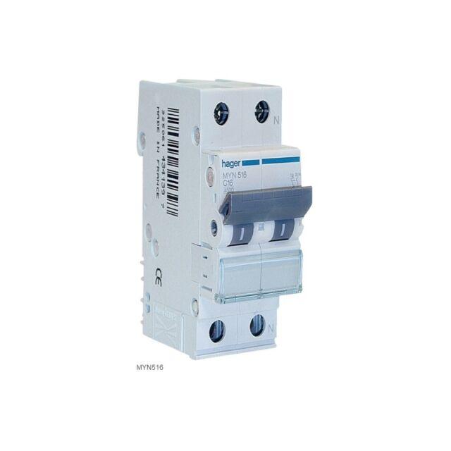 Interruttore automatico magnotermico HAGER MYN506 1P+N 6A 4.5KA C 2M  4-NBD6B