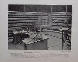 1896 London Stampa + Testo Royal Istituzione Michael FARADAY'S Tavolo IN Teatro