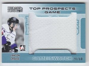 2014-15-ITG-HP-PROSPECTS-LAWSON-CROUSE-JERSEY-GAME-USED-SWATCH-60-Heroes-Coyote