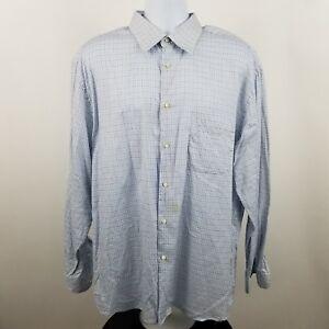 Zanella-Men-039-s-100-Cotton-Blue-Check-L-S-Casual-Button-Shirt-Sz-17-5-Large-L