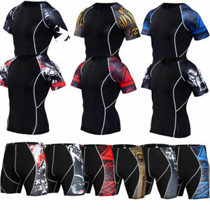 Mens-Compression-T-Shirts-Gym-Workout-Running-Shorts-Sleeve-Tight-Printed-Tanks