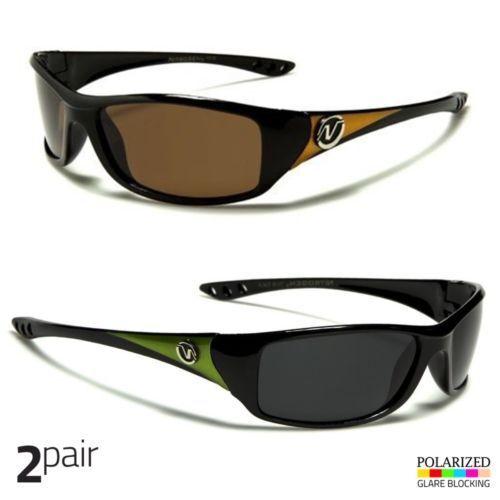 2 PC Men Polarized Sunglasses Wrap Driving Outdoor Sports Glasses Green Orange c