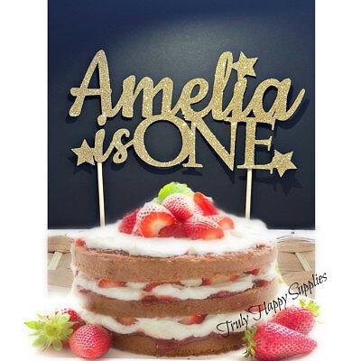 Terrific Personalised 1St Birthday Cake Topper Custom Name Age Is One Funny Birthday Cards Online Elaedamsfinfo