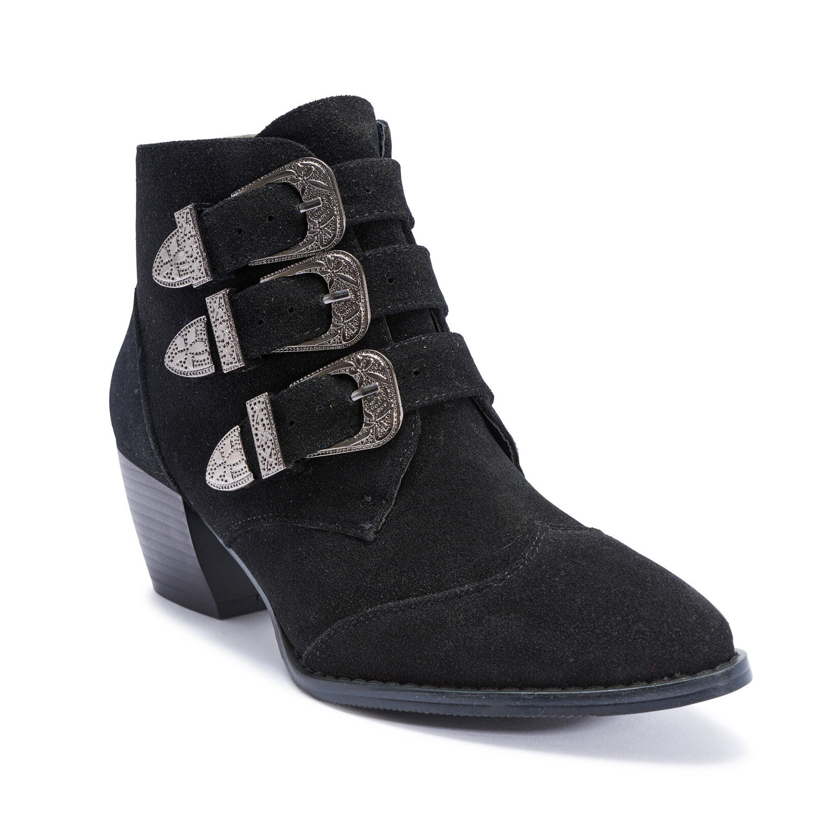 Truffle New Black Suede Margi Ladies Vegan Block Buckle Low Heel Boot